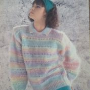 ARGYLL KNITTING PATTERN 838 EYELET SWEATER KNITTED IN FLUFFY CHUNKY