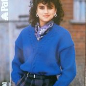 PATONS DIPLOMA CHUNKY KNITTING PATTERN 3202 V NECK SWEATER WITH CABLE DETAIL