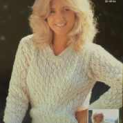 ARGYLL KNITTING PATTERN 393 LADY'S V OR ROUND NECK LACY SWEATER