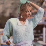 ARGYLL KNITTING PATTERN 899 SNAPPY KNITS SWEATER WITH CONTRAST RIBS