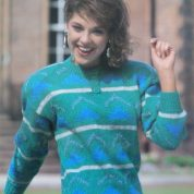 ARGYLL KNITTING PATTERN 1042 FERNMOOR DK GEOMETRIC SWEATER WITH STRIPES