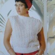 ARGYLL KNITTING PATTERN 700 SLEEVELESS SWEATER SLASH NECK KNITTED IN PICASSO