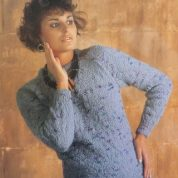 ARGYLL KNITTING PATTERN 949 LACY RAGLAN SWEATER KNITTED IN PICASSO