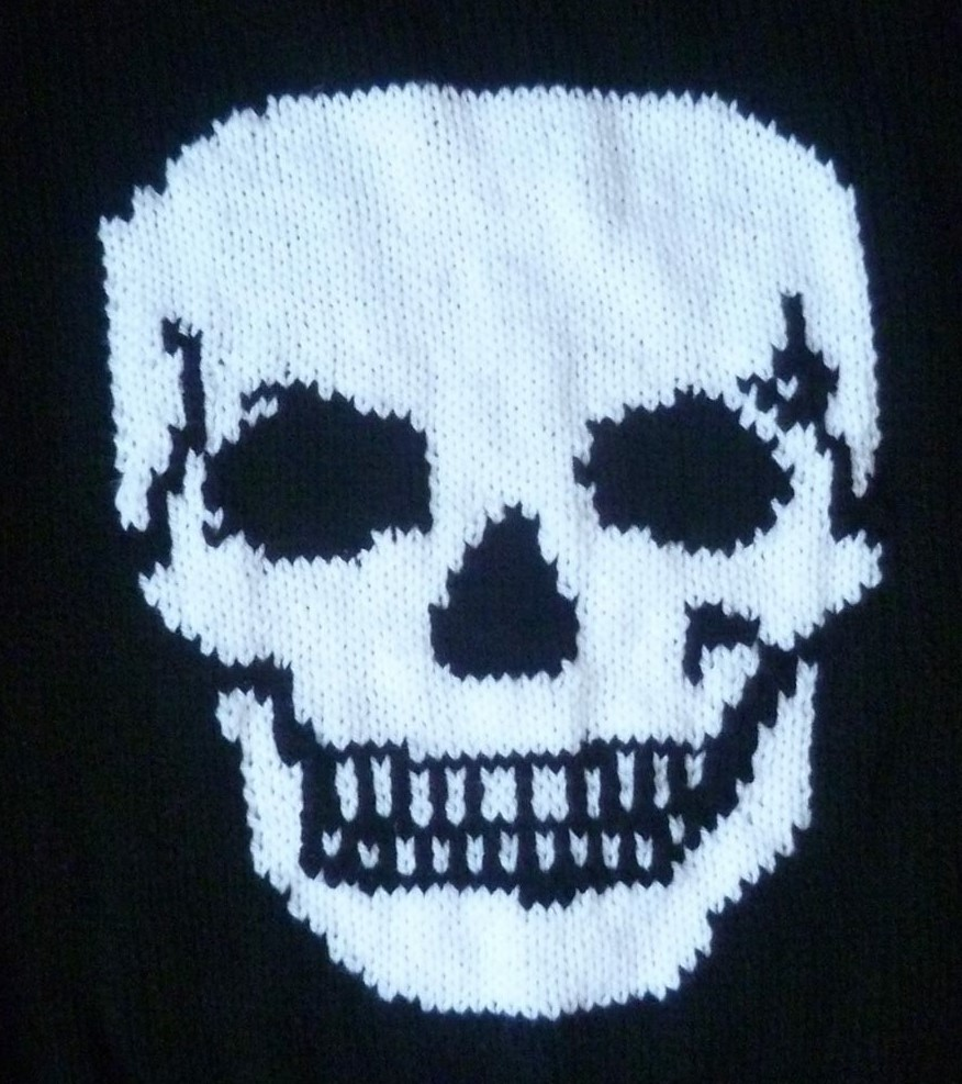 Hand knitted skull jumper
