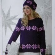 James C brett Knitting Pattern Sweater And Hat JB193 Double Knitting Snowflakes