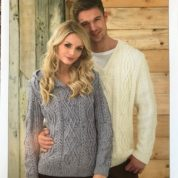 James C brett Knitting Pattern Sweater JB214 Aran Hoodie and V Neck
